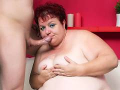 Fat Older Babe Gets Her Tits Sprayed