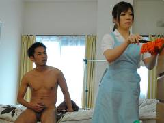 Hot house maid Nana Oshikiri gets a nice tonk