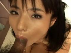Hot Asian girl goes down on man's cock before getting pussy stuffed